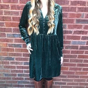 Anthropologie Holding Horses velvet shirtdress S